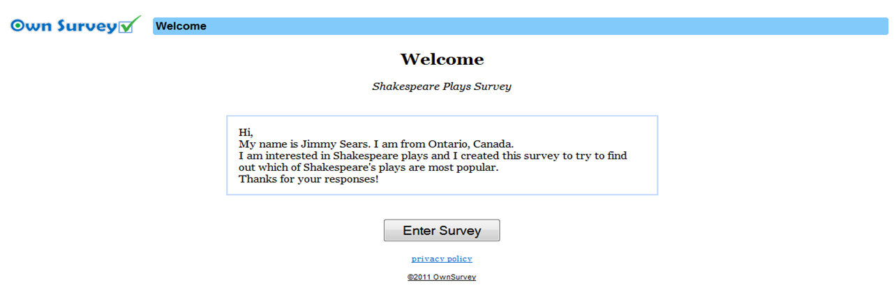 Welcome to my survey